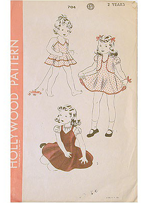 1940s Hollywood girls dresses pattern 6 years