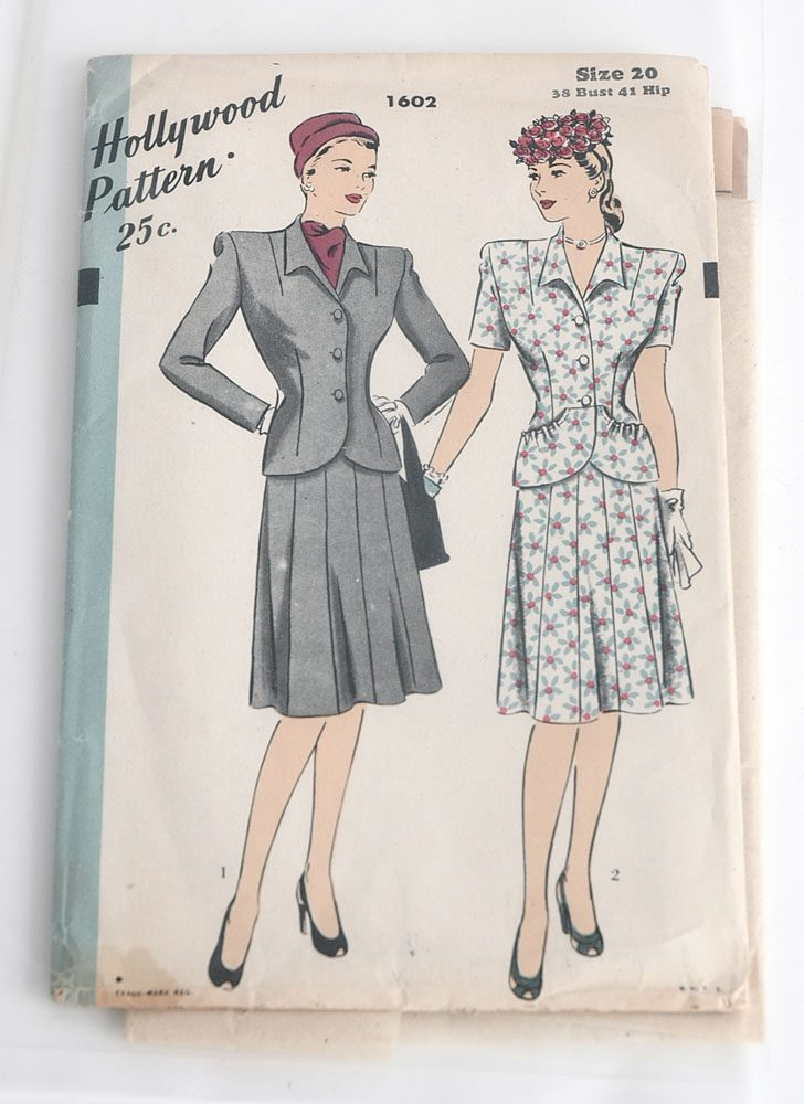 1940s Hollywood 1602 suit pattern