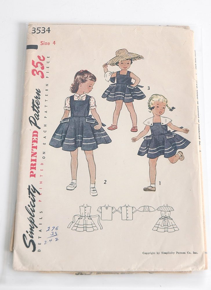 1950s Simplicity 3534 girls dress pattern