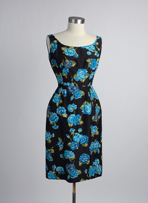 1950s 60s silk floral cocktail dress