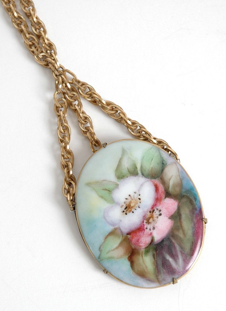 vintage hand painted porcelain cameo necklace