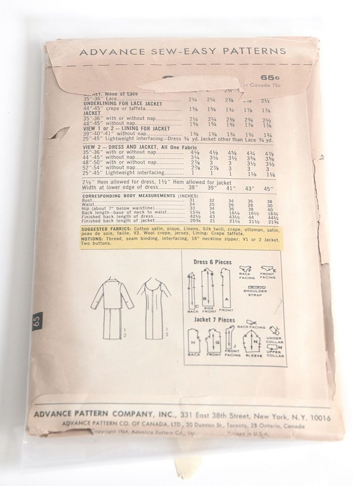 1960s Advance 3512 dress + jacket pattern