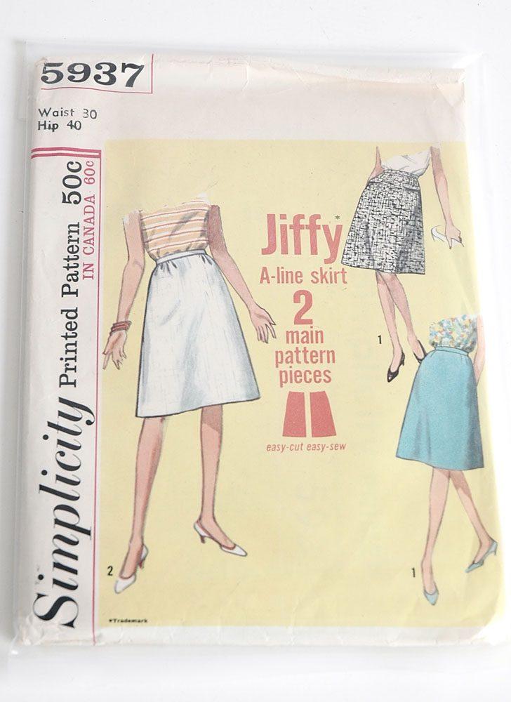 1960s Simplicity 5937 skirt pattern