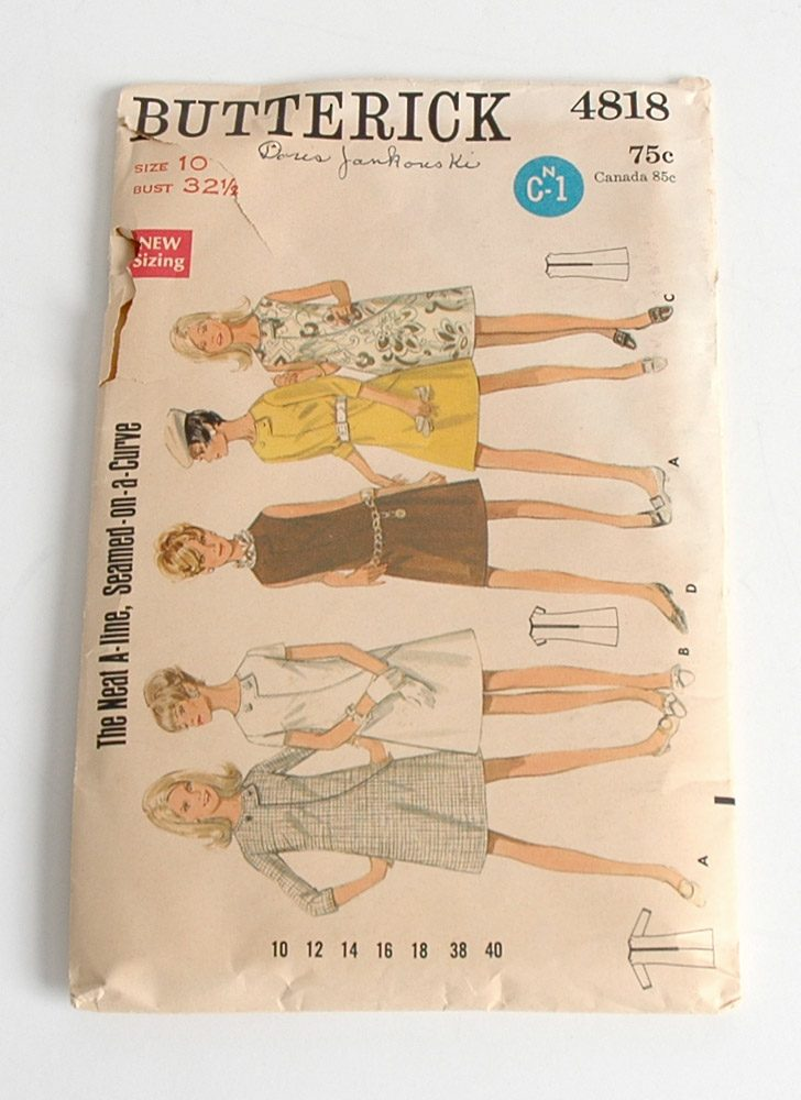 1960s Butterick shift dress pattern 4818