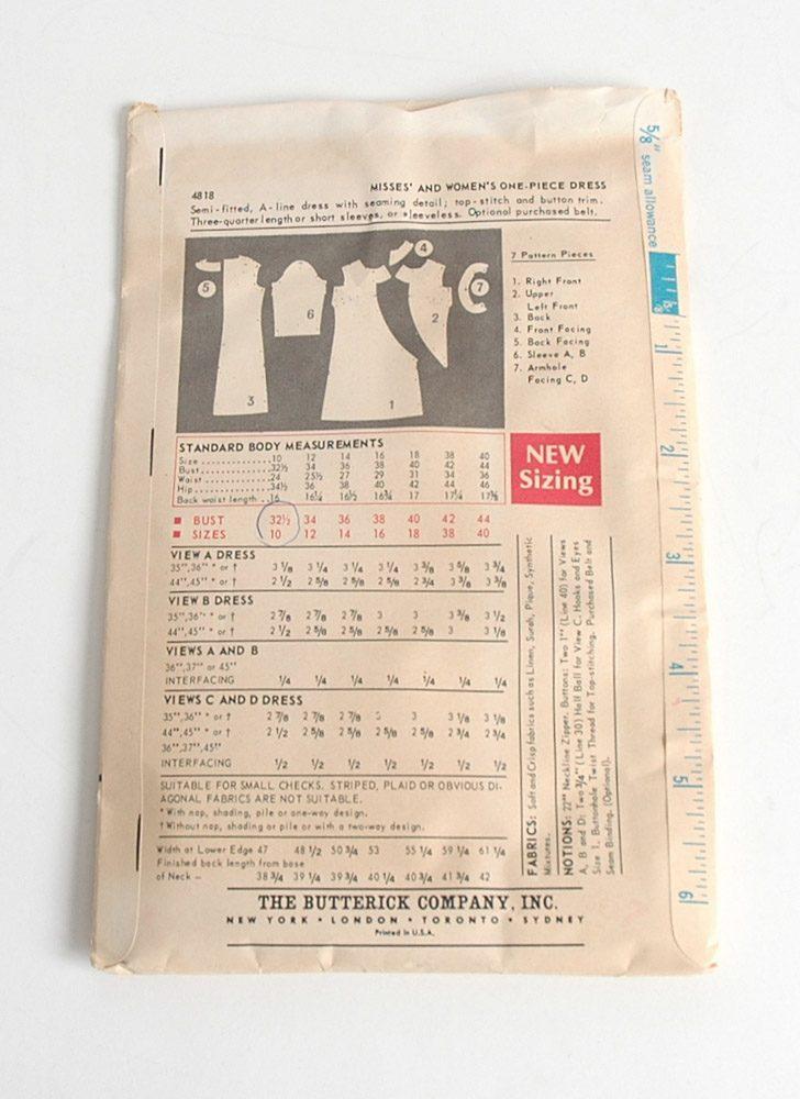 1960s Butterick shift dress pattern 4818
