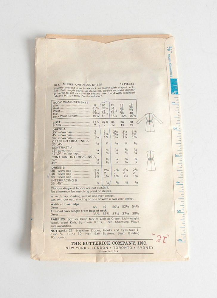 1960s Butterick dress pattern 5747