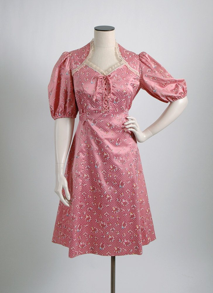 1970s does 1940s flocked pink satin dress