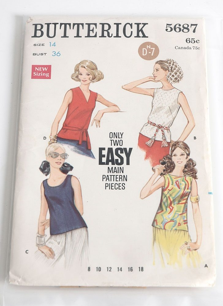 1960s 70s Butterick 5687 blouse pattern