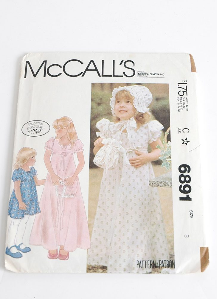 1970s McCalls girls dress pattern 6891