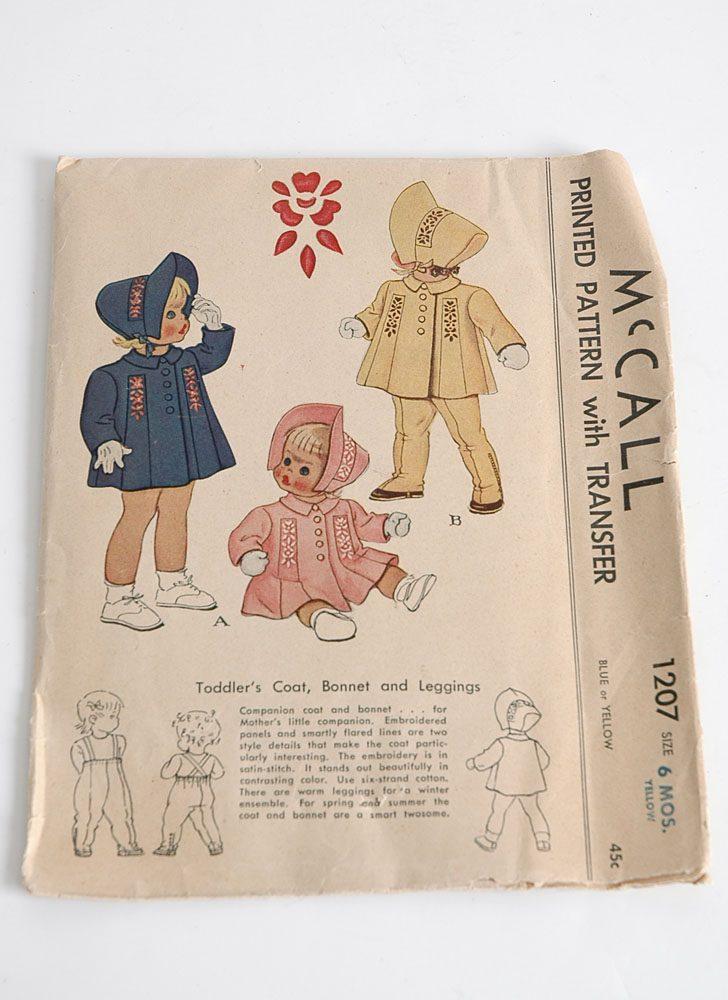 1945 McCall 1207 child coat pattern