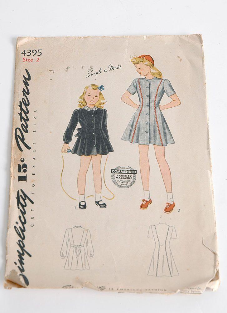 1940s Simplicity 4395 girls dress pattern