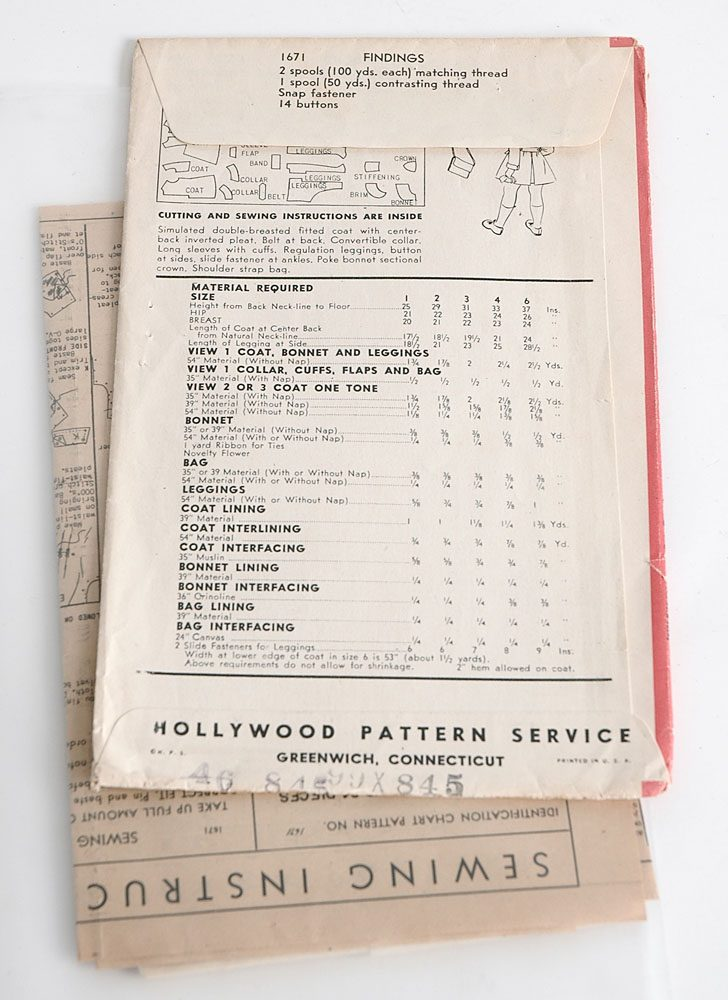 1940s Hollywood 1671 girls coat pattern