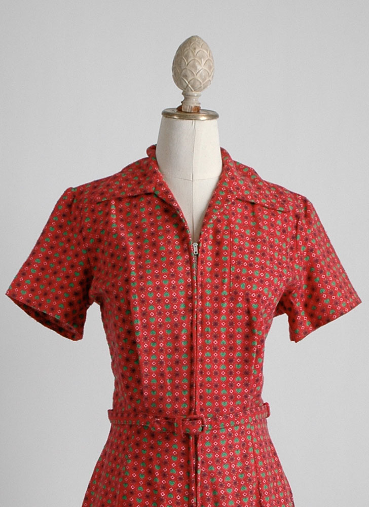 1950s red flannel heart jumper