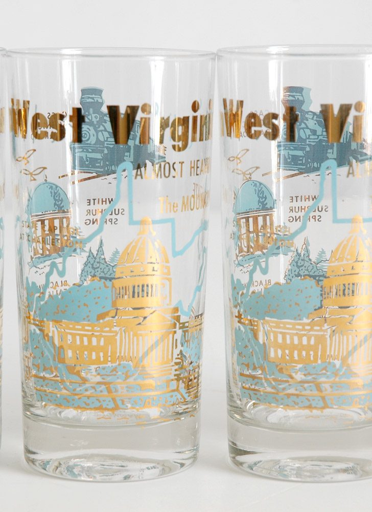 mid-century West Virginia souvenir glasses