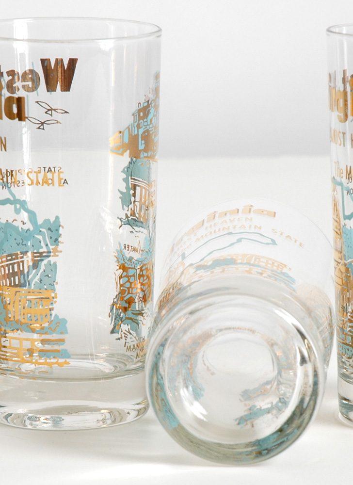 mid-century West Virginia souvenir glasses