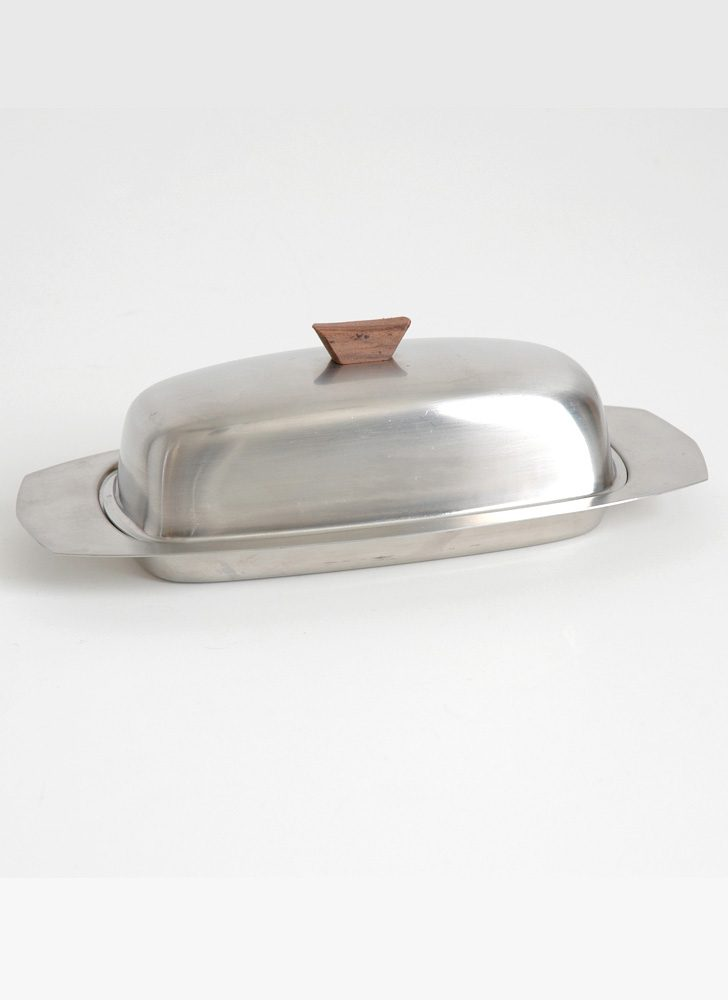 mid-century metal + wood butter dish Japan
