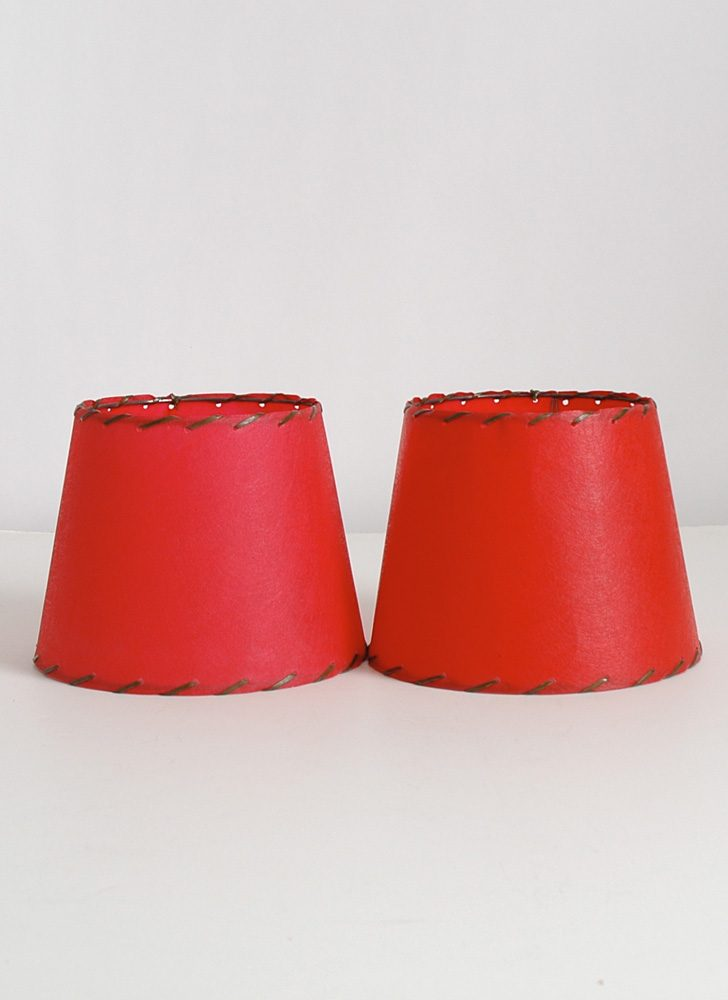 1950s red fiberglass lamp shades