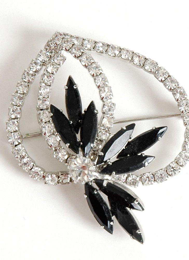1950s rhinestone + black navette brooch