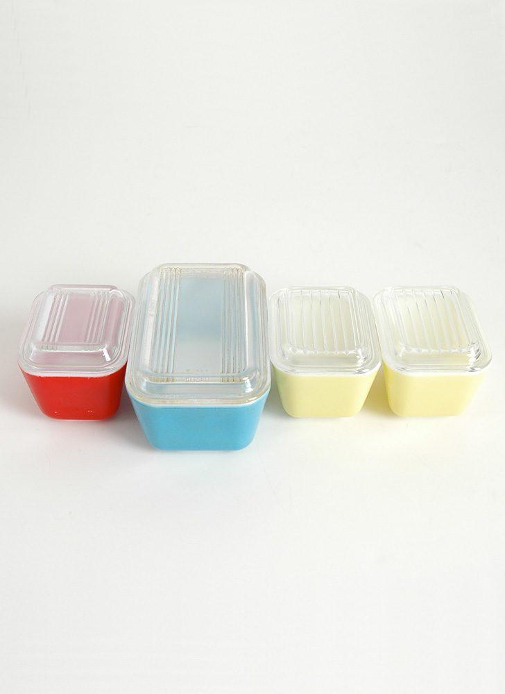 mid-century Pyrex refrigerator dishes