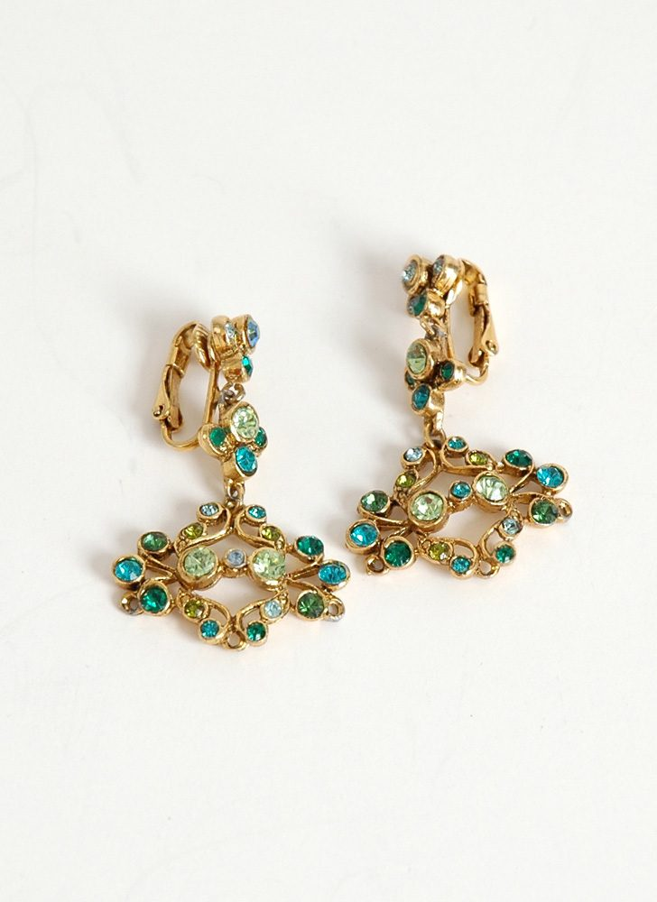 vintage green + blue rhinestone chandelier earrings