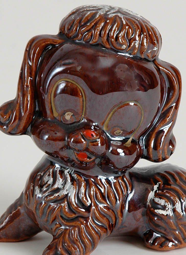 1950s brown ceramic poodle Japan