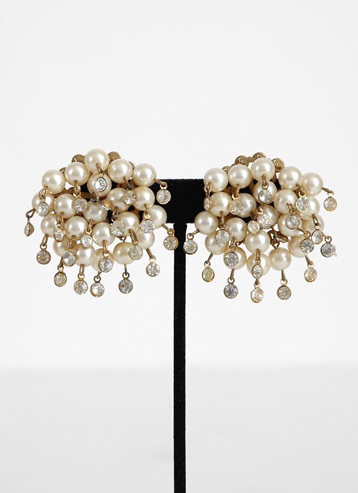 1950s pearl and rhinestone earrings
