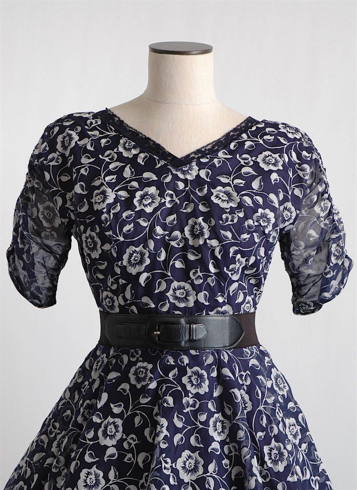 1950s flocked floral dress