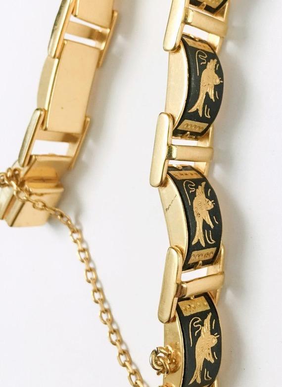 1950s 60s damascene swallows gold link bracelet