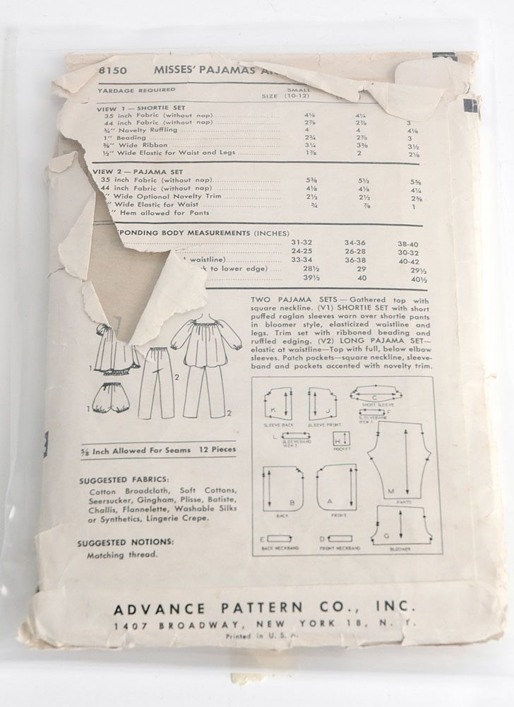 1950s Advance 8150 pajama pattern