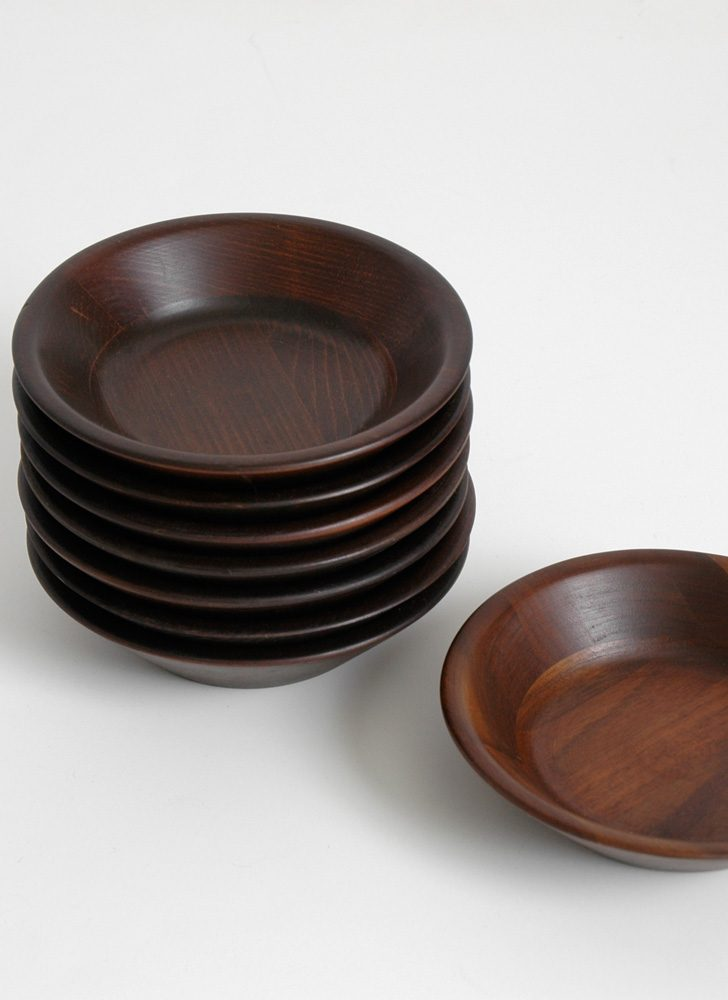 1960s Vermillion walnut bowl set