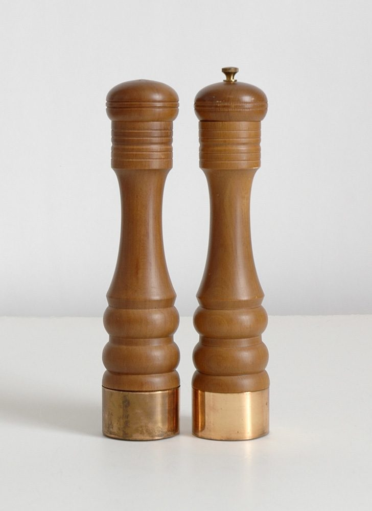 mid-century wood salt shaker and pepper grinder