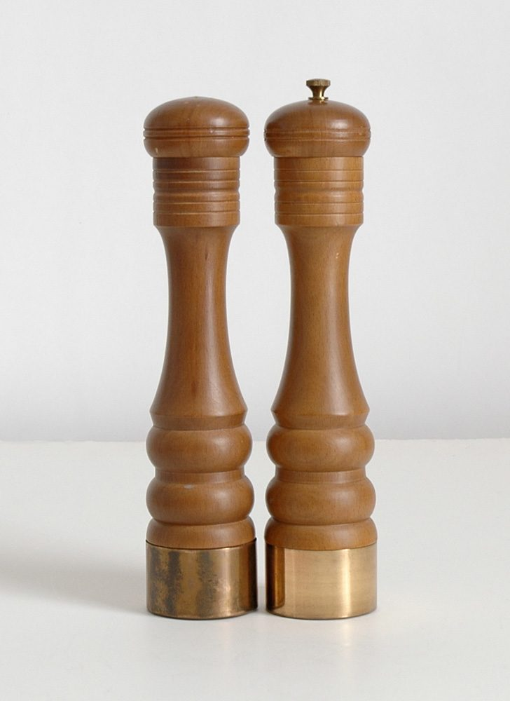mid-century wood salt shaker and pepper grinder