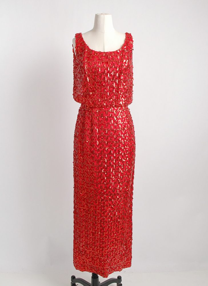 1960s red sequin evening gown