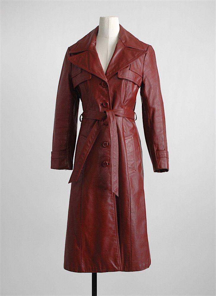 1970s burgundy leather coat