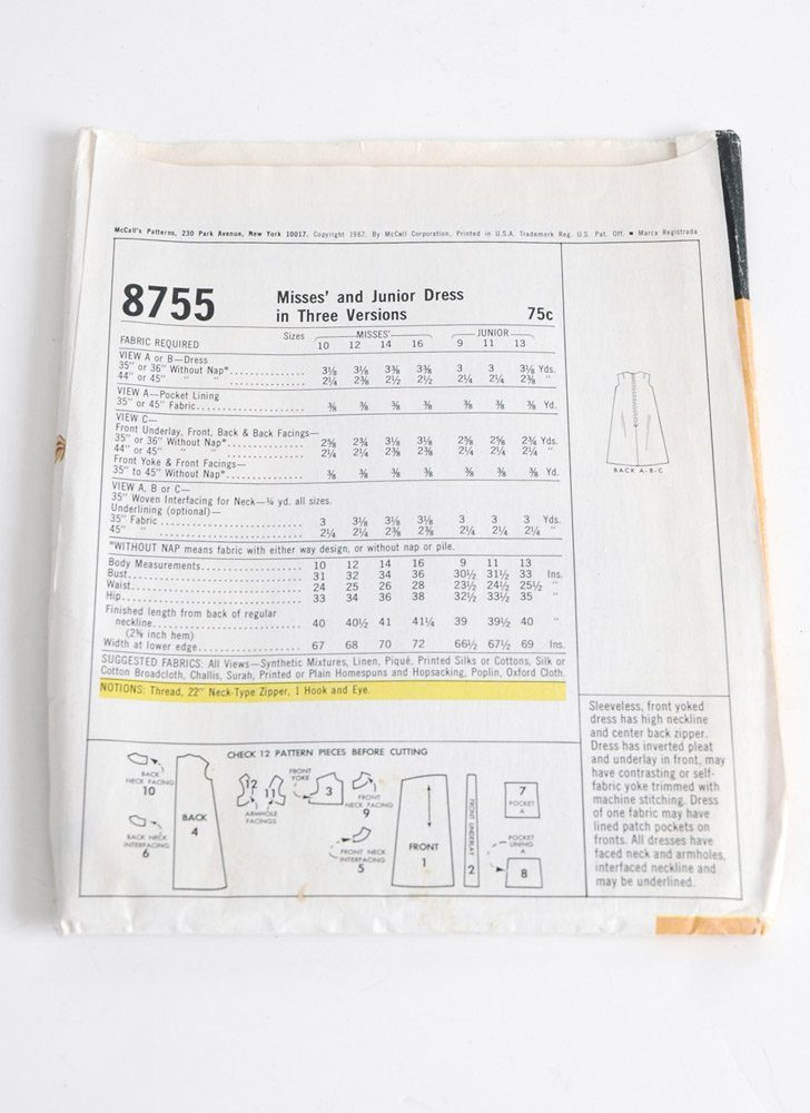 1960s McCall's 8755 dress pattern