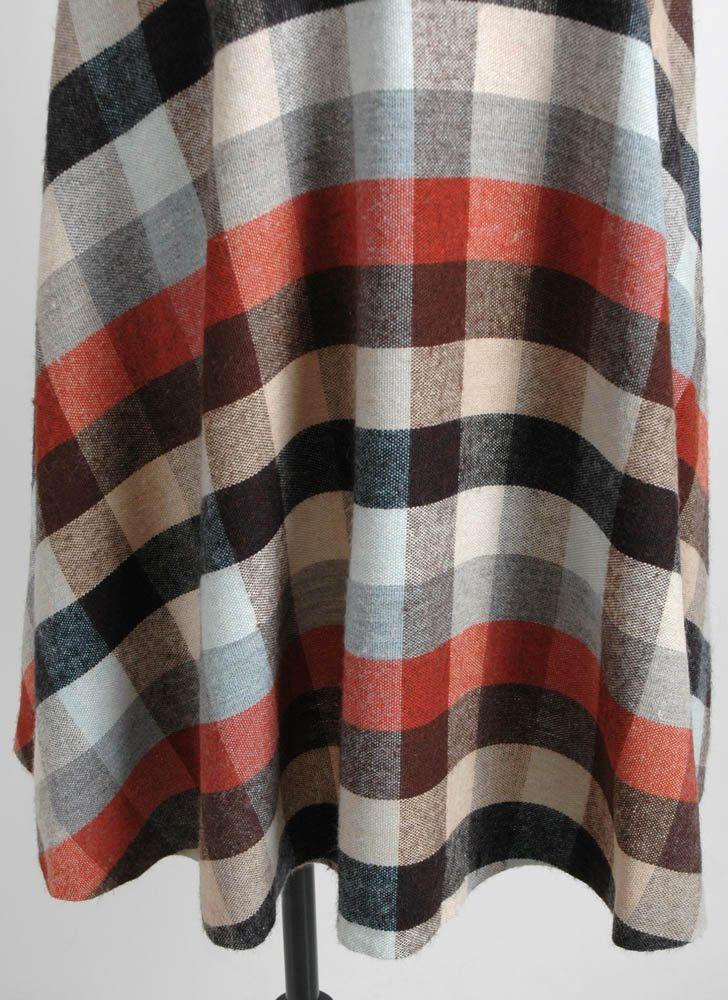 1970s earth tone check skirt