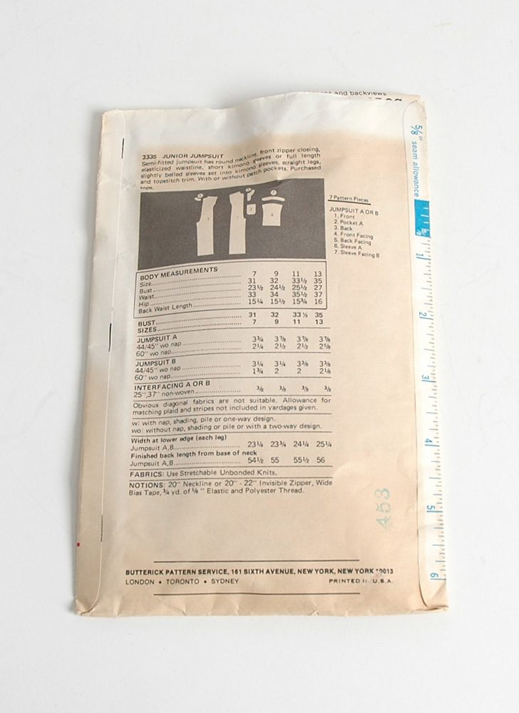 1970s Butterick jumpsuit pattern 3335