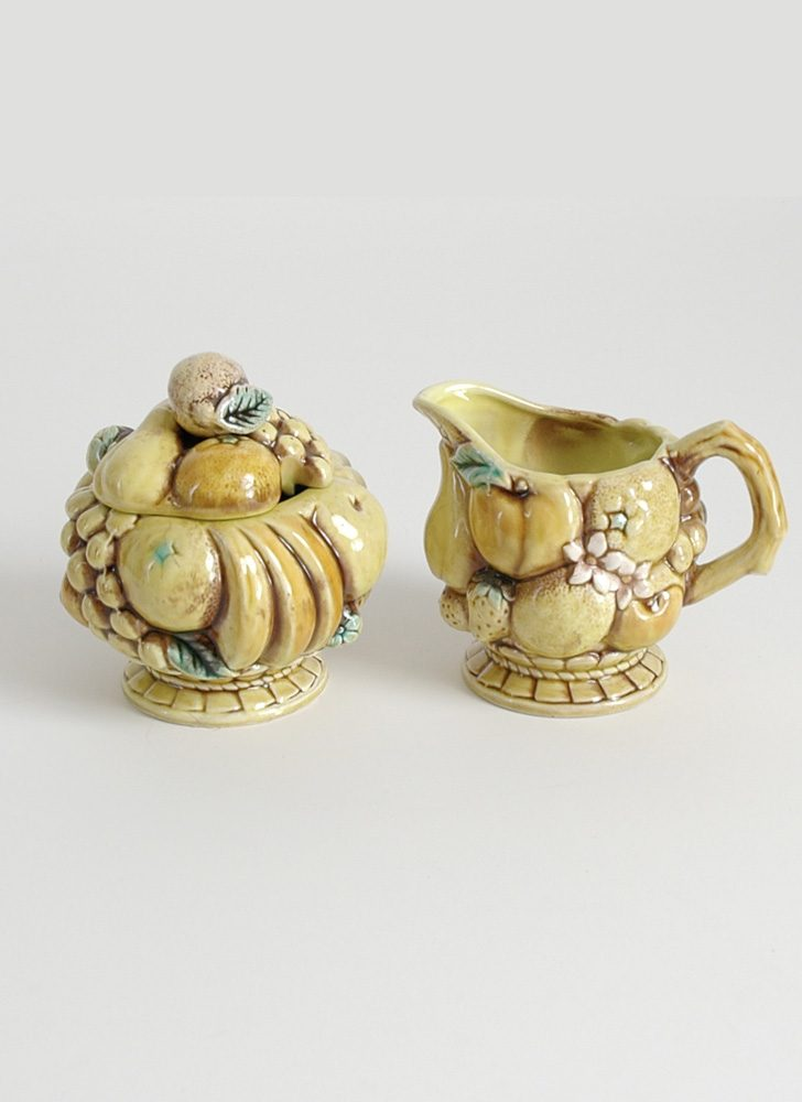 1960s 70s ceramic creamer + sugar bowl Japan inarco ardco