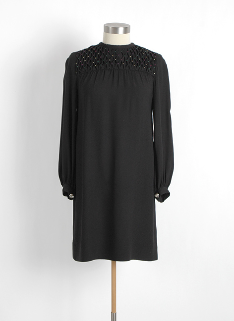 1960s Saks Fifth Avenue crepe dress + smocking