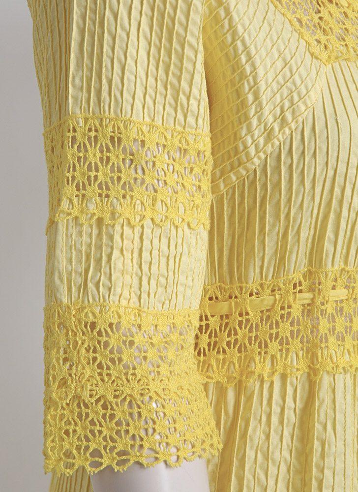 1970s yellow pintucked cotton + crochet peasant dress