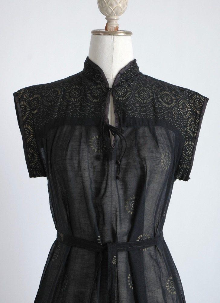 vintage sheer black + gold Indian cotton dress