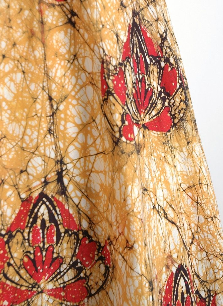 1970s white + yellow batik cotton tent dress