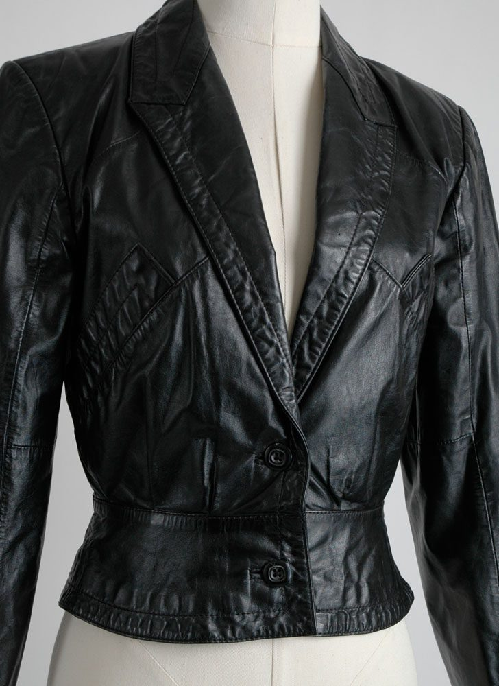 1970s 80s black leather button jacket