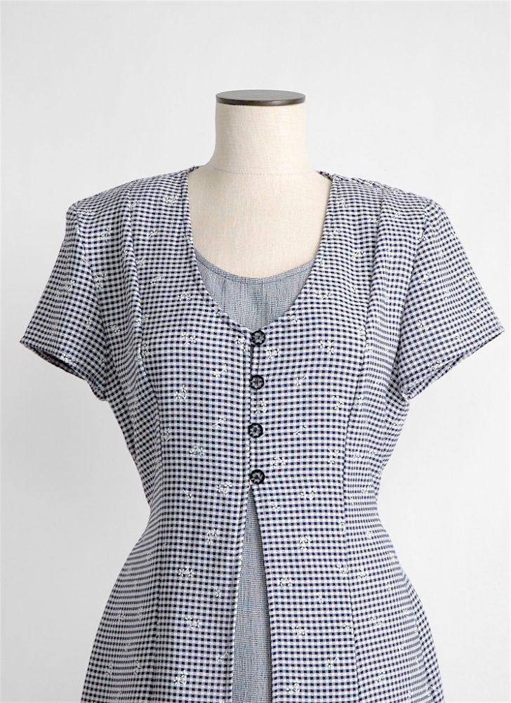 1990s tie-back check dress