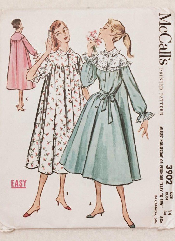 "unused 1950s vintage housecoat or peignoir printed pattern * McCalls 3902 * vintage size 14 bust 34"""