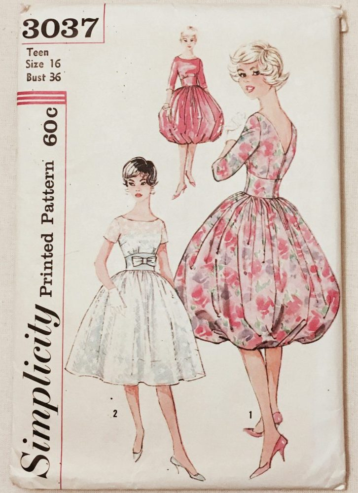 unused 1959 cocktail dress pattern Simplicity 3037 bust 36″