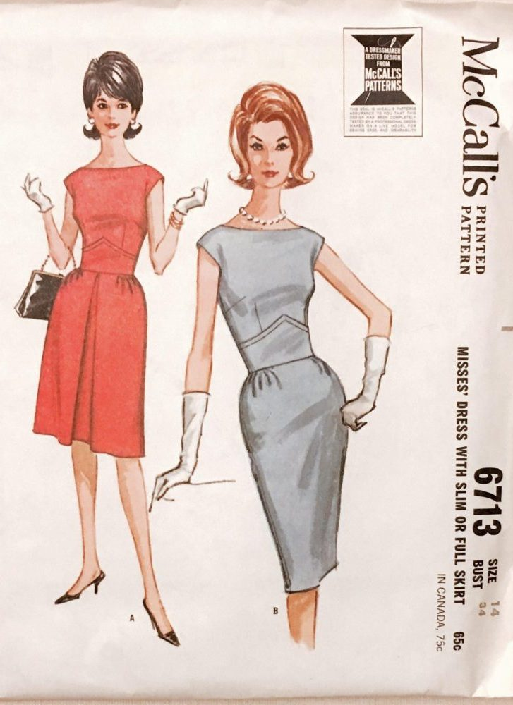 unused early 1960s dress pattern McCall's 6713 bust 34″