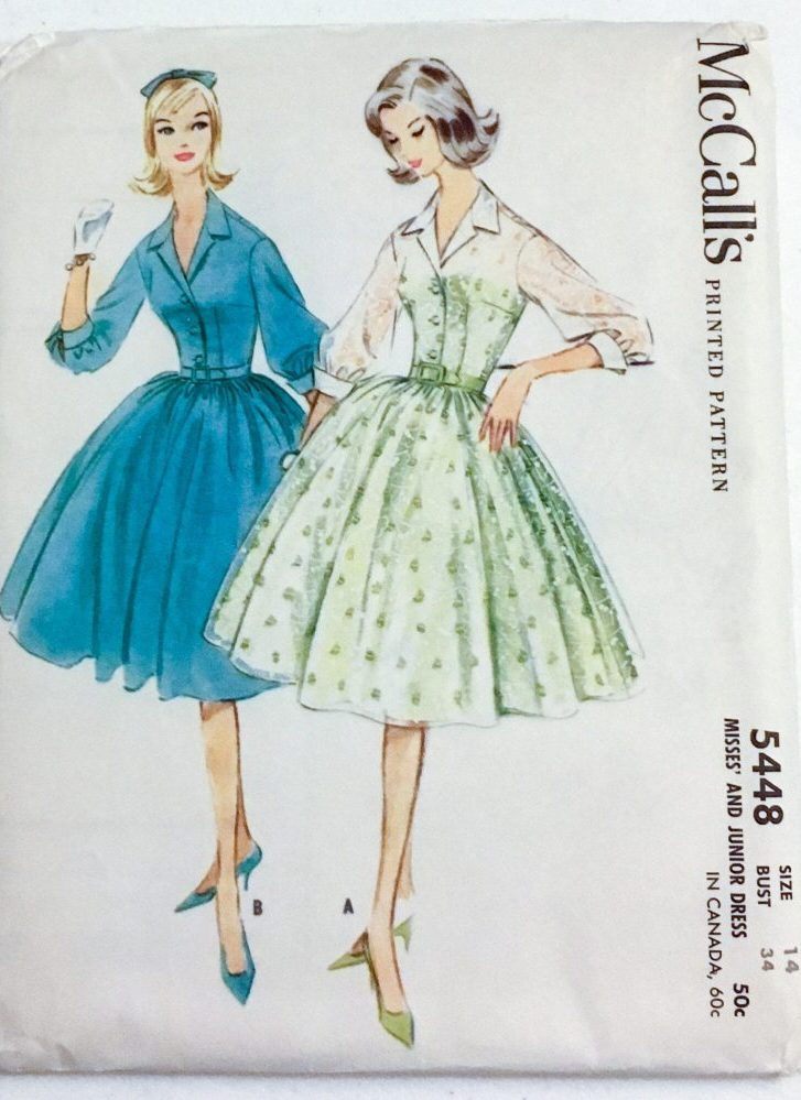 uncut 1960 shirtwaist dress pattern McCall's 5448