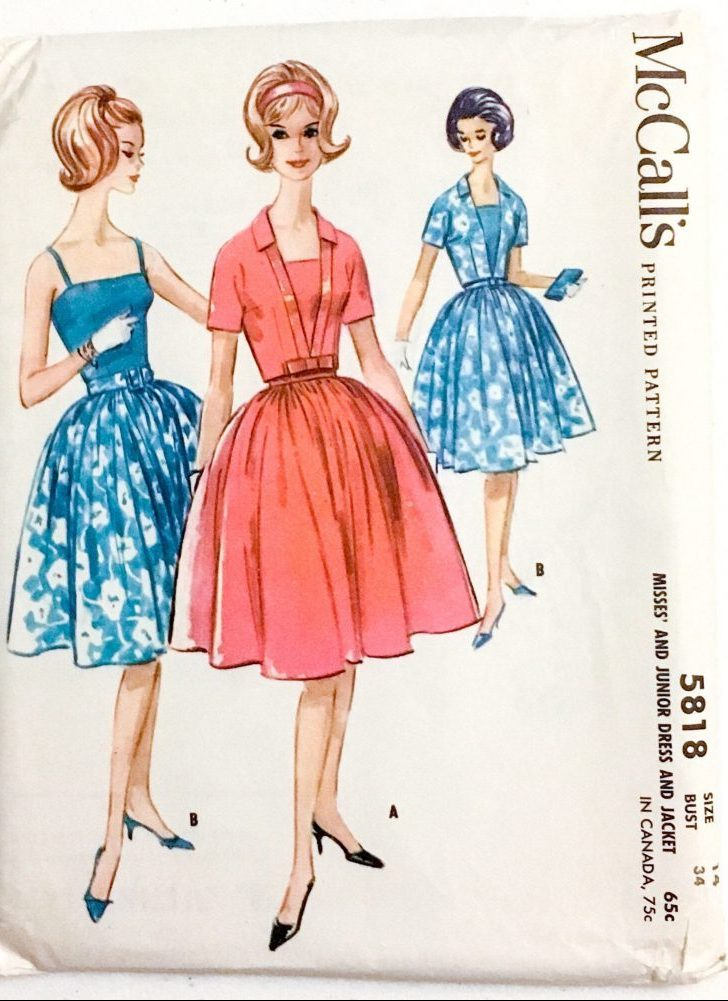 unused 1960s vintage dress pattern McCall's 5818 bust 34″