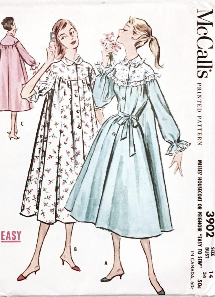 unused 1950s housecoat/peignoir pattern McCalls 3902 bust 34″